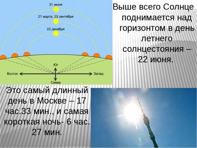 Это самый длинный день в Москве – 17 час.33 мин., и самая короткая ночь- 6 ча...