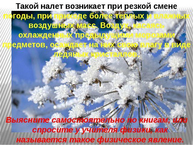 Такой налет возникает при резкой смене погоды, при приходе более теплых и вла...