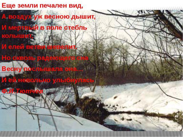 Еще земли печален вид, А воздух уж весною дышит, И мертвый в поле стебль колы...
