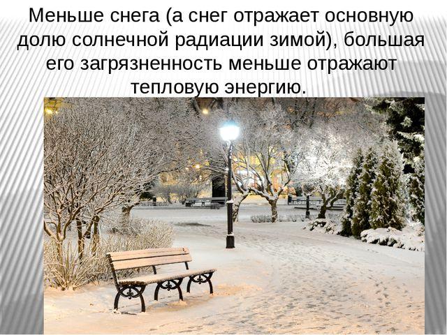 Меньше снега (а снег отражает основную долю солнечной радиации зимой), больша...