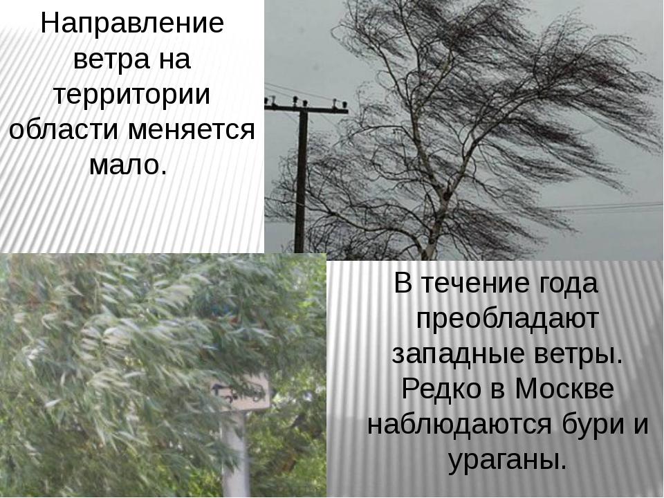 Направление ветра на территории области меняется мало. В течение года преобла...