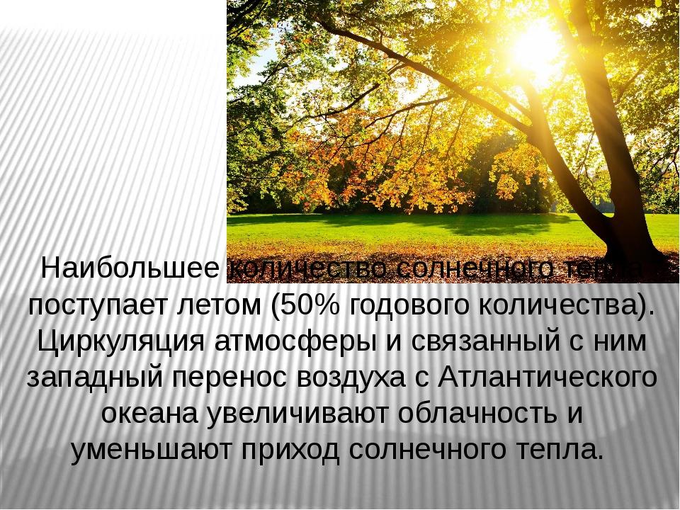 Наибольшее количество солнечного тепла поступает летом (50% годового количест...
