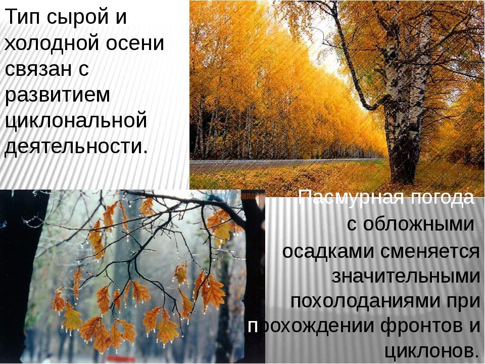 Тип сырой и холодной осени связан с развитием циклональной деятельности. Пасм...
