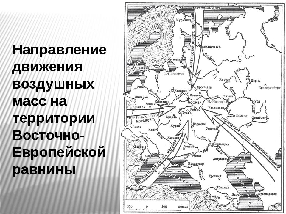 Направление движения воздушных масс на территории Восточно- Европейской равнины