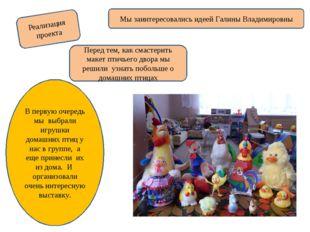Реализация проекта Мы заинтересовались идеей Галины Владимировны Перед тем, к