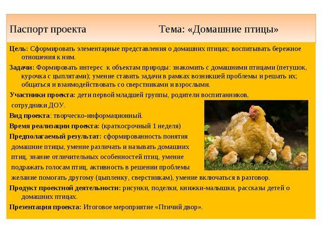 Паспорт проекта Тема: «Домашние птицы» Цель: Сформировать элементарные предст...