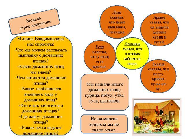 Модель «трех вопросов» Галина Владимировна нас спросила: -Что мы можем расска...