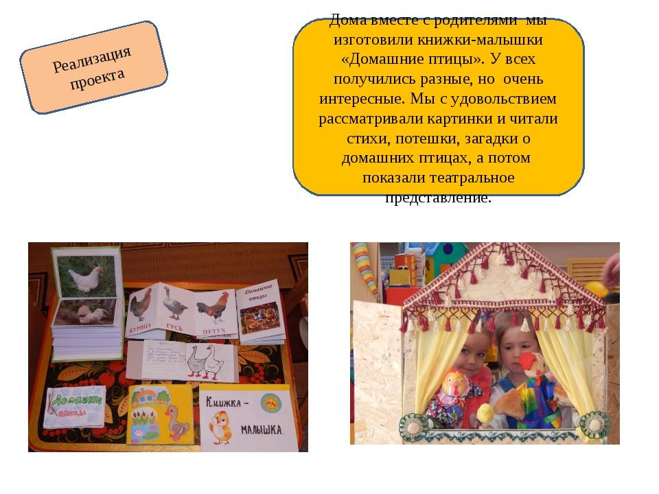 Реализация проекта Дома вместе с родителями мы изготовили книжки-малышки «Дом...