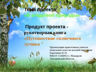 Тема проекта «В кладовой природы» Продукт проекта - рукотворная книга «Путеше