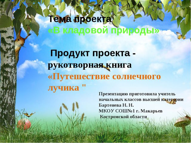 Тема проекта «В кладовой природы» Продукт проекта - рукотворная книга «Путеше...