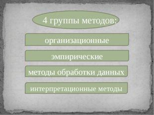 4 группы методов: организационные эмпирические методы обработки данных интер