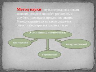 Метод науки - путь следования к новым знаниям, который способен расширить и