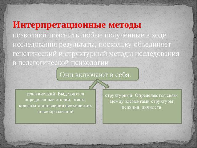 Интерпретационные методы – позволяют пояснить любые полученные в ходе исслед...