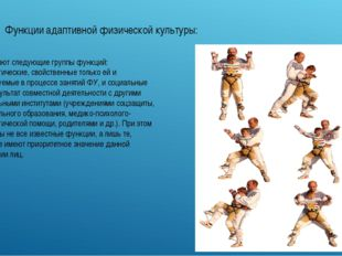 Функции адаптивной физической культуры: Выделяют следующие группы функций: пе