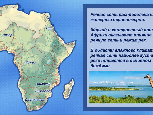 Речная сеть распределена на материке неравномерно. Жаркий и контрастный клим...