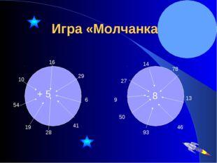 Игра «Молчанка» + 5 16 29 6 41 28 19 54 10 - 8 14 78 13 46 93 50 9 27