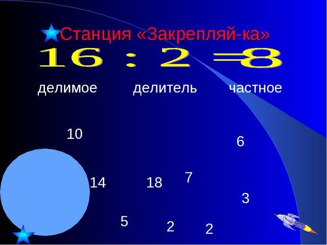 Станция «Закрепляй-ка» делимое делитель частное 10 14 18 6 3 5 2 2 7