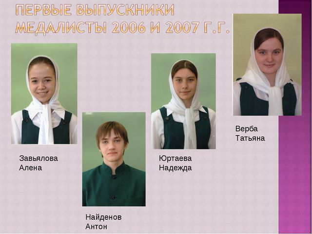 Завьялова Алена Найденов Антон Юртаева Надежда Верба Татьяна