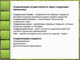 Социализация осуществляется через следующие механизмы: Социальные нормы – общ