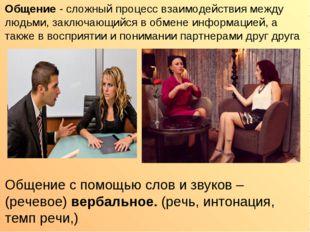 Общение - сложный процесс взаимодействия между людьми, заключающийся в обмене