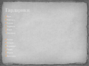 Киев Новгород Полоцк Чернигов Псков Смоленск Ростов Суздаль Владимир Рязань М