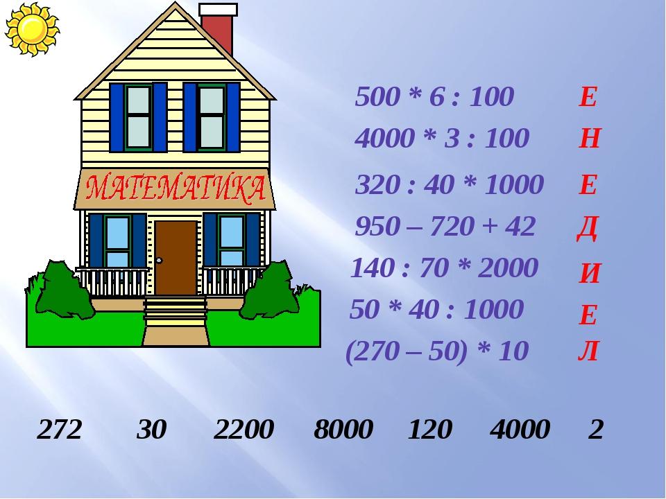 500 * 6 : 100 4000 * 3 : 100 320 : 40 * 1000 950 – 720 + 42 140 : 70 * 2000 5...
