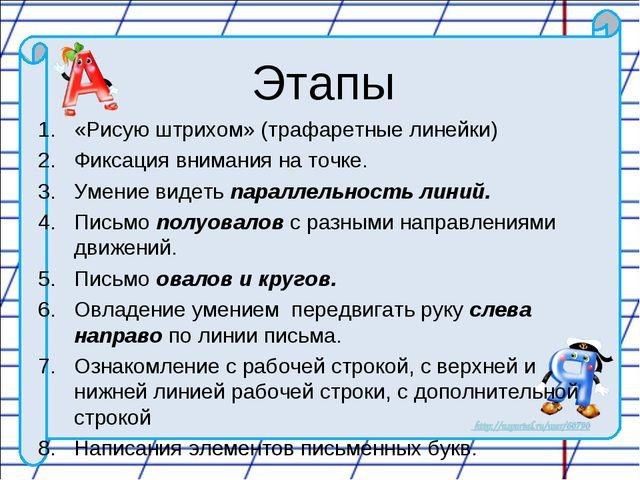 Этапы «Рисую штрихом» (трафаретные линейки) Фиксация внимания на точке. Умени...