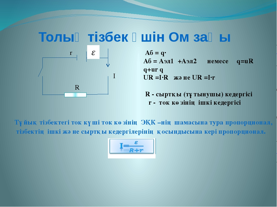 Толық тізбек үшін Ом заңы R r I Аб = q·ε Аб = Аэл1 +Аэл2 немесе εq=uR q+ur q...