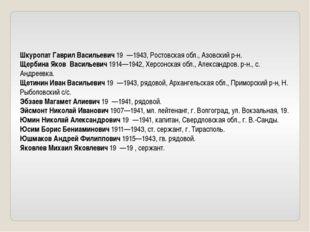Шкуропат Гаврил Васильевич 19 —1943, Ростовская обл., Азовский р-н. Щербина