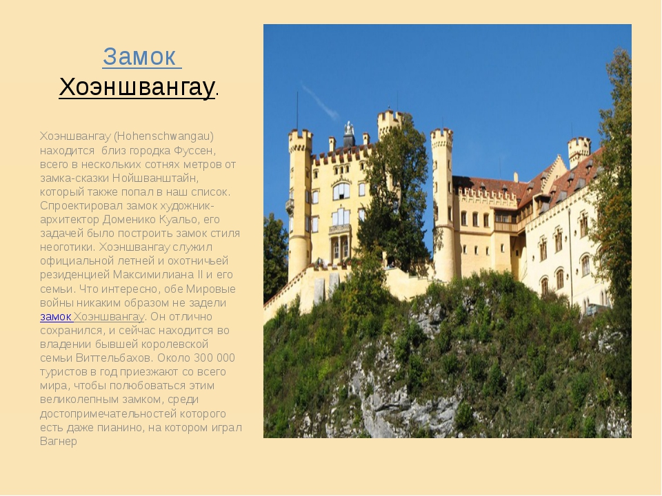 Замок Хоэншвангау. Хоэншвангау (Hohenschwangau) находится близ городка Фусс...