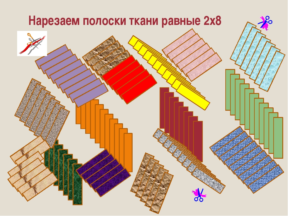 Нарезаем полоски ткани равные 2х8