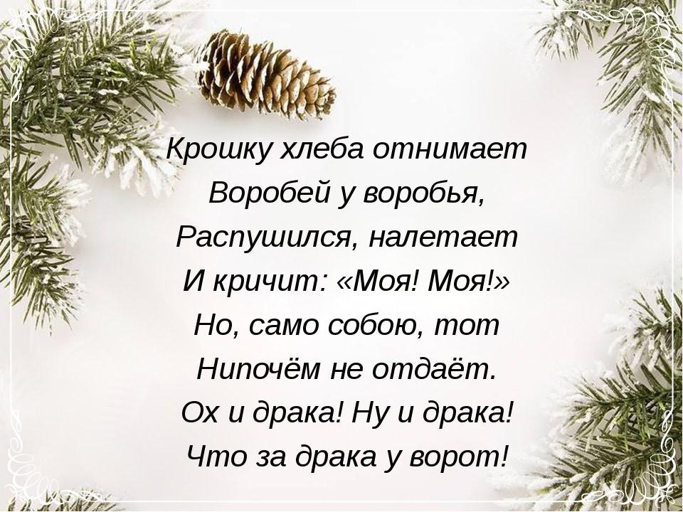 Крошку хлеба отнимает Воробей у воробья, Распушился, налетает И кричит: «Моя!...