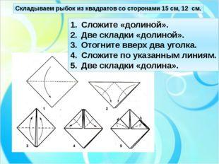 Складываем рыбок из квадратов со сторонами 15 см, 12 см. Сложите «долиной». Д