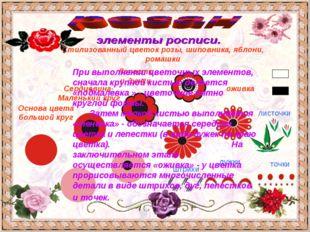 Основа цвета большой круг Сердцевина- Маленький круг Лепестки-дужки Стилизова