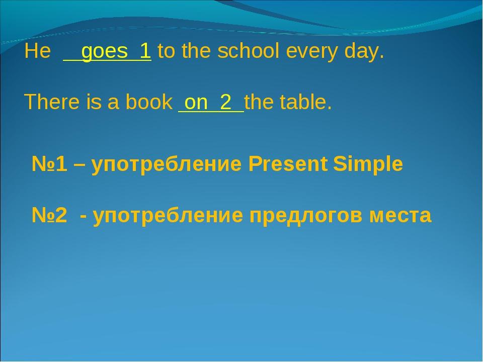 №1 – употребление Present Simple №2 - употребление предлогов места He goes 1...