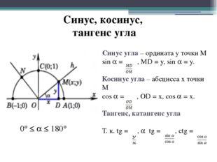 Синус, косинус, тангенс угла Синус угла – ордината у точки М sin  = , MD = y