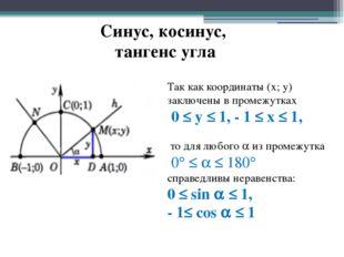 Синус, косинус, тангенс угла Так как координаты (х; у) заключены в промежутка