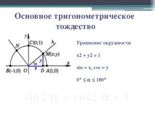 Основное тригонометрическое тождество Уравнение окружности х2 + у2 = 1 sin =