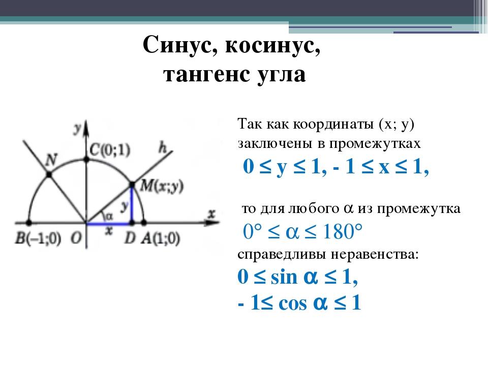 Синус, косинус, тангенс угла Так как координаты (х; у) заключены в промежутка...