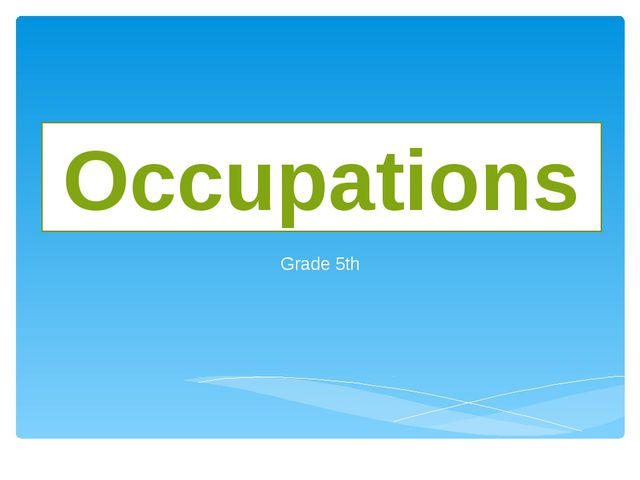 Grade 5th Occupations
