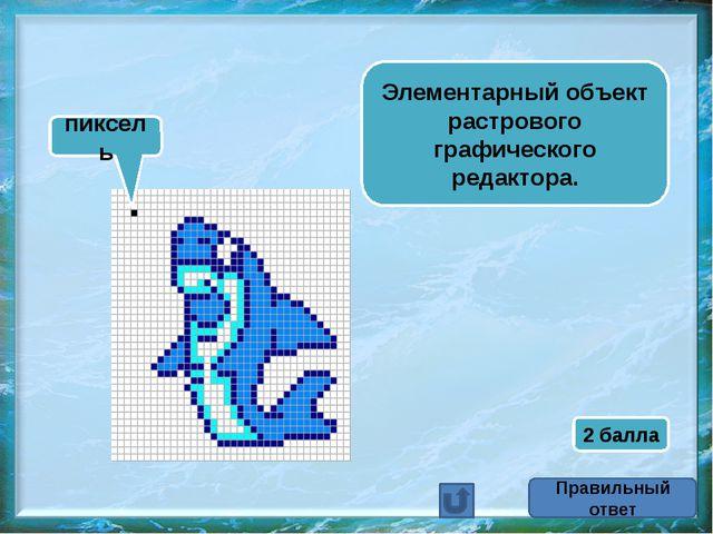 Элементарный объект растрового графического редактора. пиксель Правильный отв...