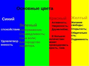 Основные цвета Зеленый Самоуважение; Справедливость; Сила воли; Благородство