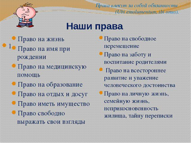 1 Наши права Право на жизнь Право на имя при рождении Право на медицинскую п...