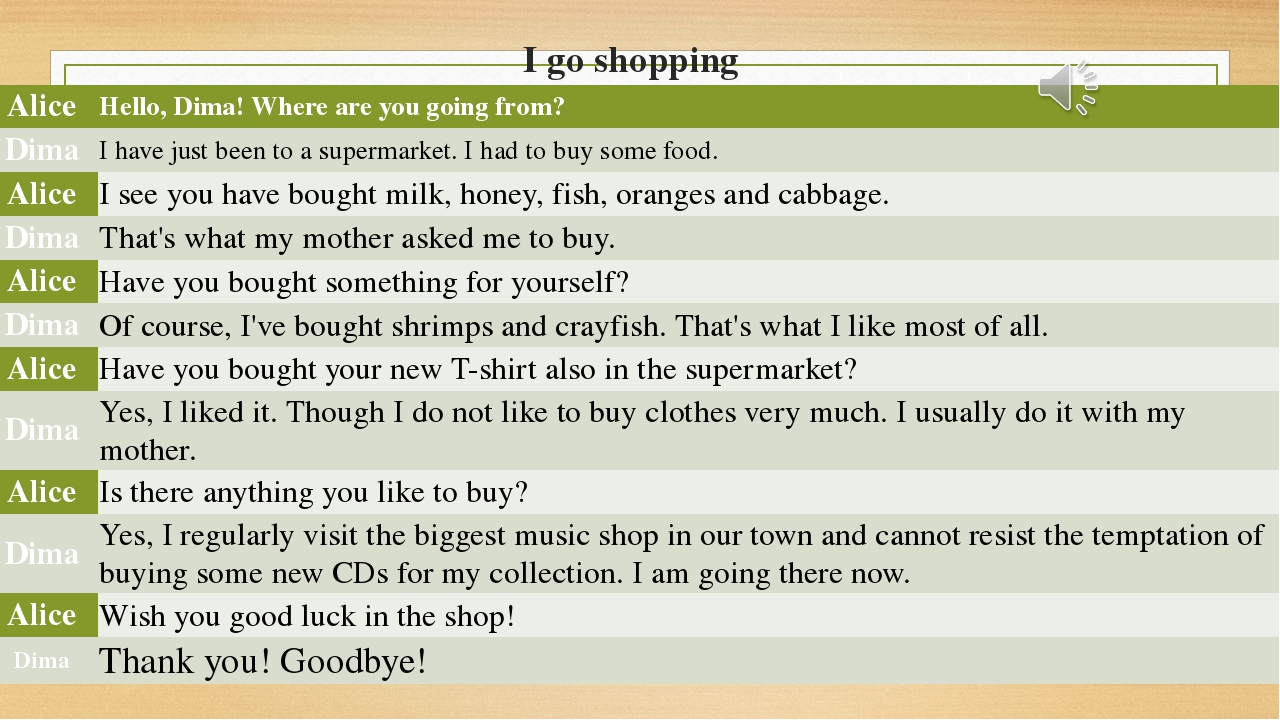 I go shopping Alice Hello, Dima! Where are you going from? Dima I have just b...