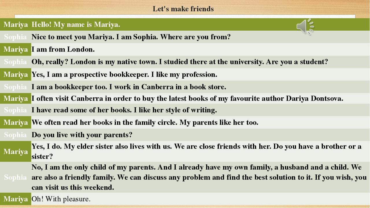 Let's make friends Mariya Hello! My name isMariya. Sophia Nice to meet youMar...