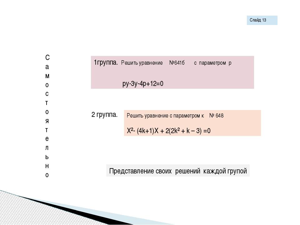 Самостоятельно 1группа. Решить уравнение №641б с параметром p py-3y-4p+12=0 2...