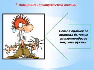 Нельзя браться за провода бытовых электроприборов мокрыми руками! Внимание! Э
