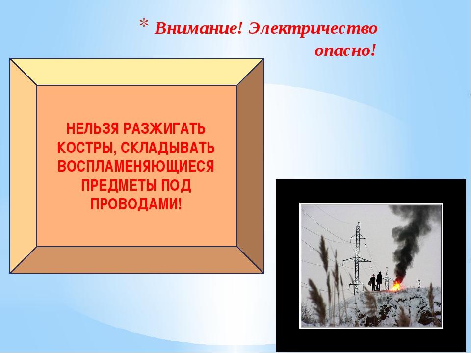 Внимание! Электричество опасно! НЕЛЬЗЯ РАЗЖИГАТЬ КОСТРЫ, СКЛАДЫВАТЬ ВОСПЛАМЕН...