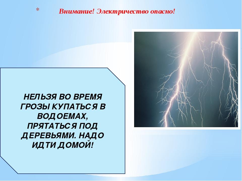 Внимание! Электричество опасно! НЕЛЬЗЯ ВО ВРЕМЯ ГРОЗЫ КУПАТЬСЯ В ВОДОЕМАХ, П...