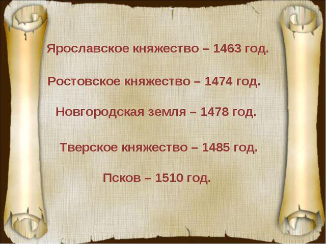 Ярославское княжество – 1463 год. Ростовское княжество – 1474 год. Новгородск...